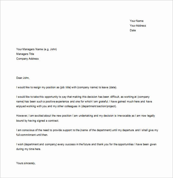 Letter Templates for Word Inspirational 39 Simple Resignation Letter Templates Pdf Doc