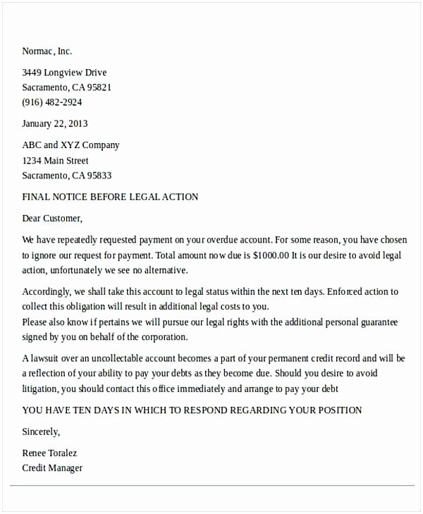 Letter Threatening Legal Action Inspirational Legal Demand Letter