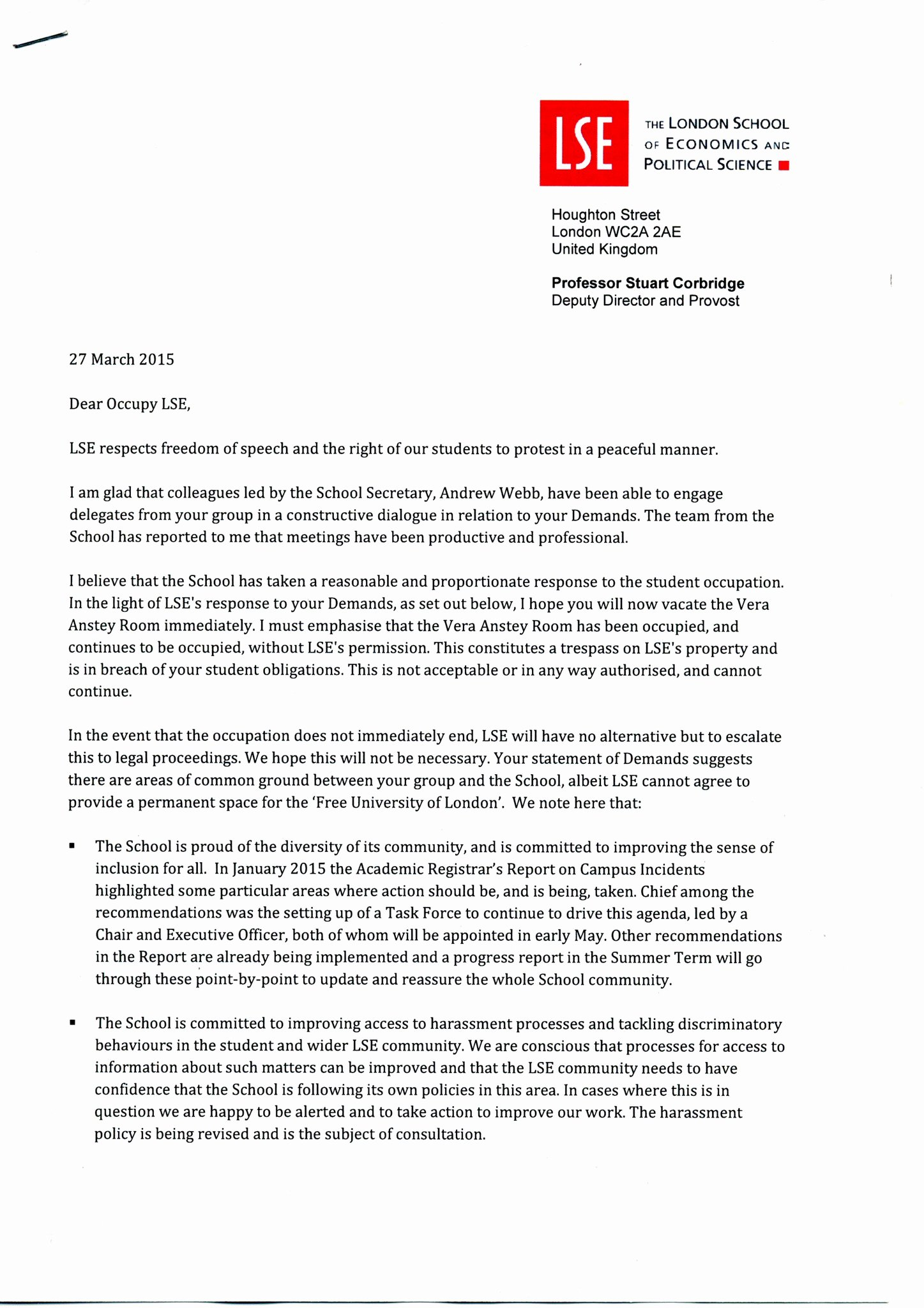 "Letter Threatening Legal Action Inspirational Occupy Lse On Twitter ""official Letter to Occupiers From"