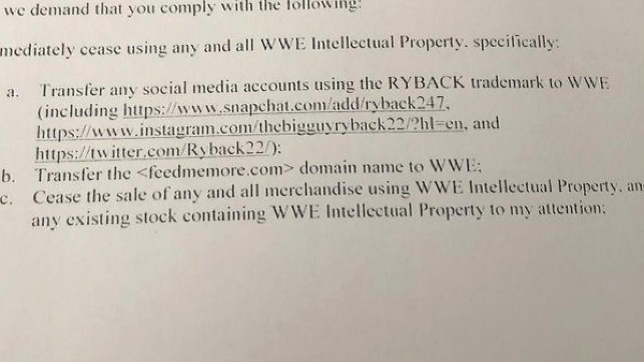 Letter Threatening Legal Action New Ryback Shows F Wwe Legal Letter Demanding His social