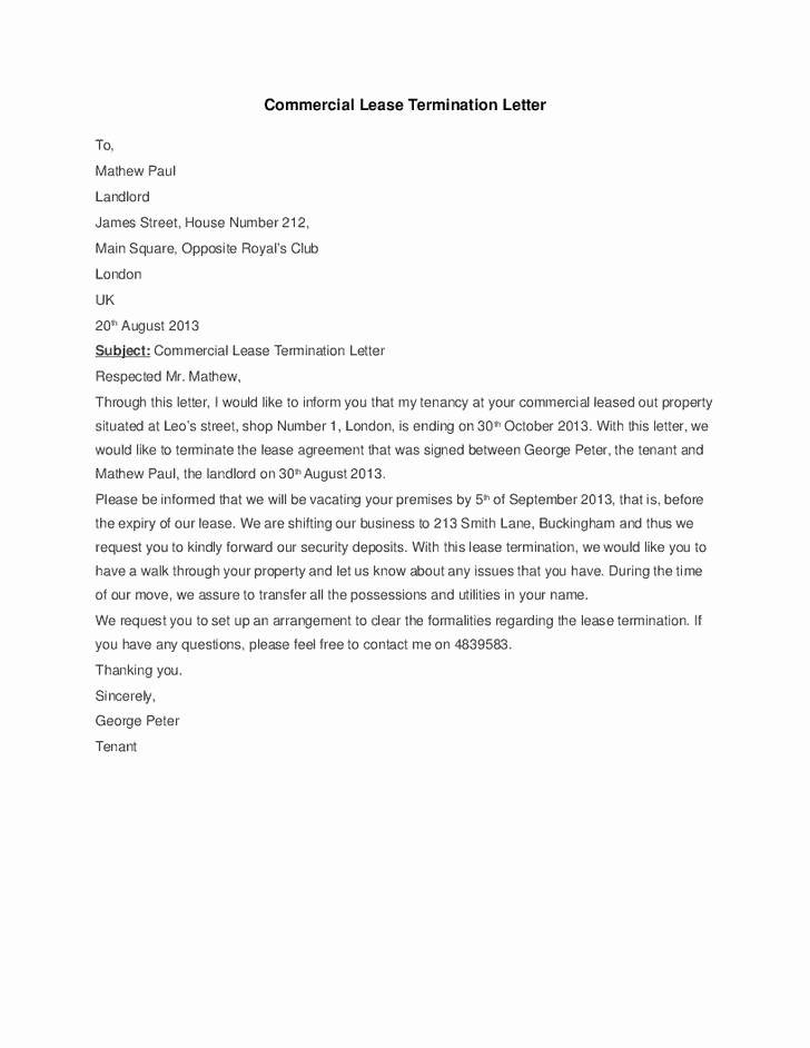 Letter to Cancel Lease Awesome 5 Mercial Lease Termination Letter Templates Word