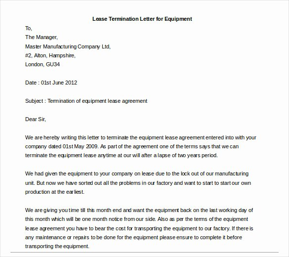 Letter to Cancel Lease Fresh Lease Termination Letter – 6 Free Word Pdf Documents