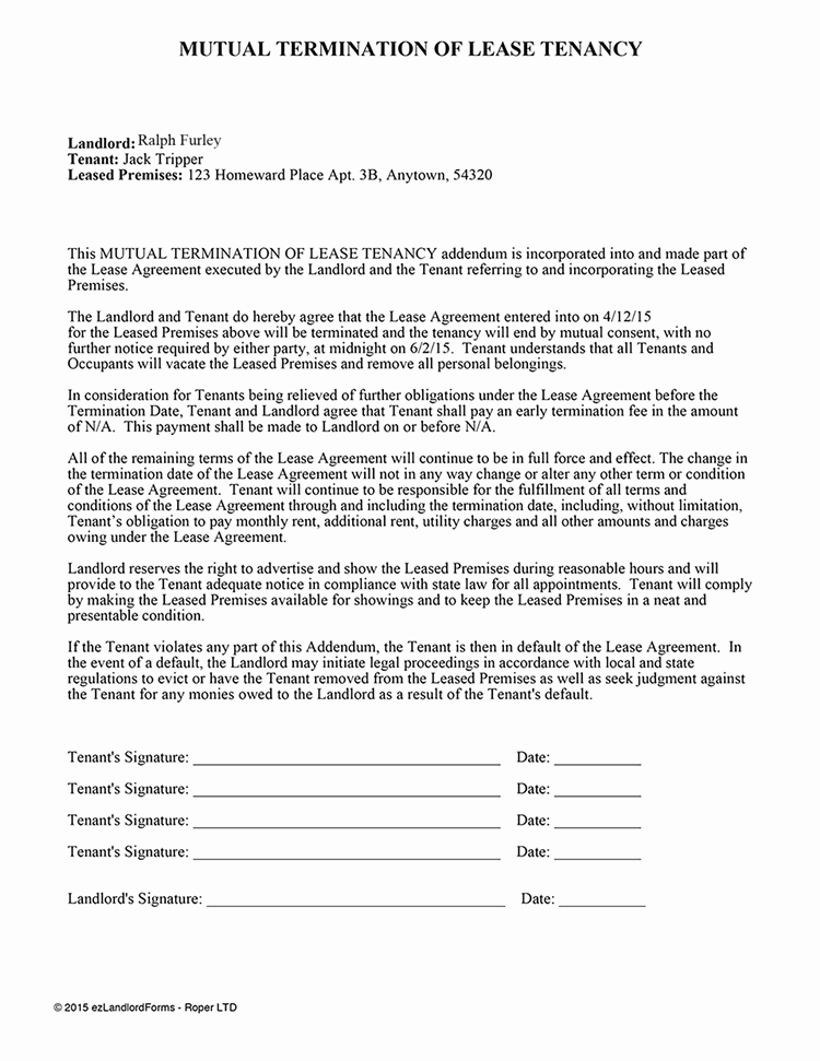 Letter to Cancel Lease Luxury 9 Termination Of Lease Agreement