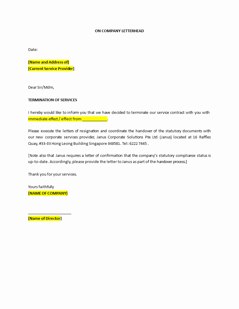 Letter to Discontinue Service Awesome Sample Termination Service Letter