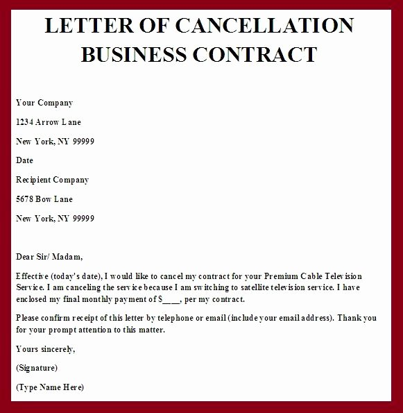 Letter to Discontinue Service Inspirational Printable Sample Contract Termination Letter form