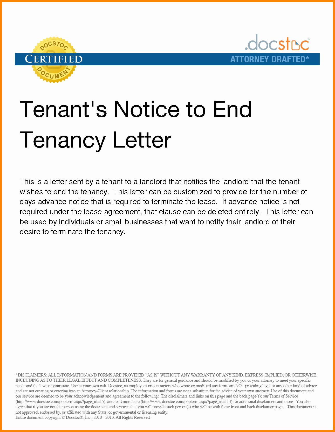 5 end of lease letter to tenant from landlord