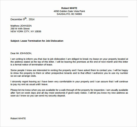 Letter to End Lease Beautiful Termination Letters – 18 Free Word Pdf Documents