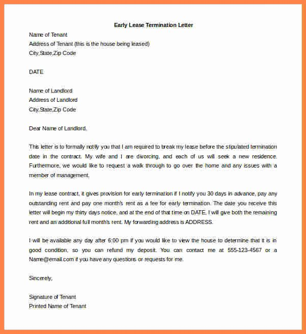 Letter to End Lease Elegant 7 Landlord Tenant Agreement to Terminate Lease