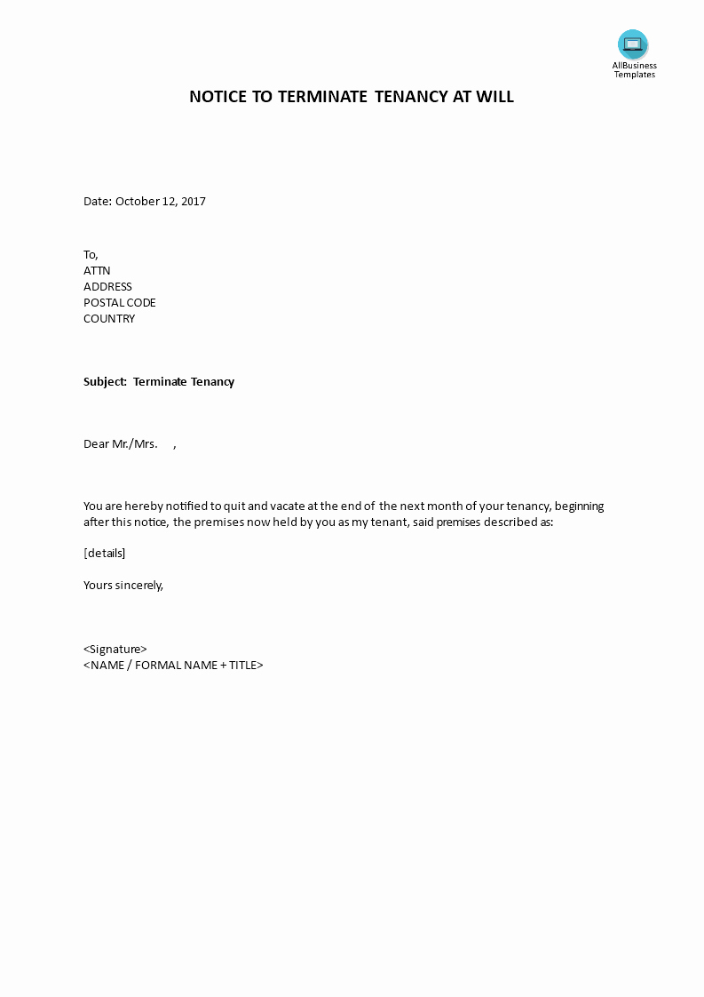 Letter to End Lease Elegant Notice to Terminate Tenancy at Will by Landlord