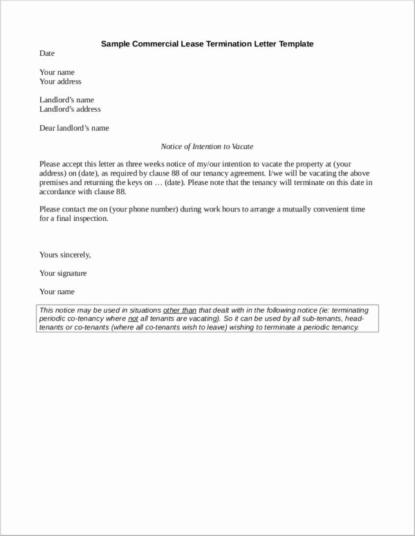 Letter to End Lease Fresh What to Include In A Mercial Lease Termination Letter