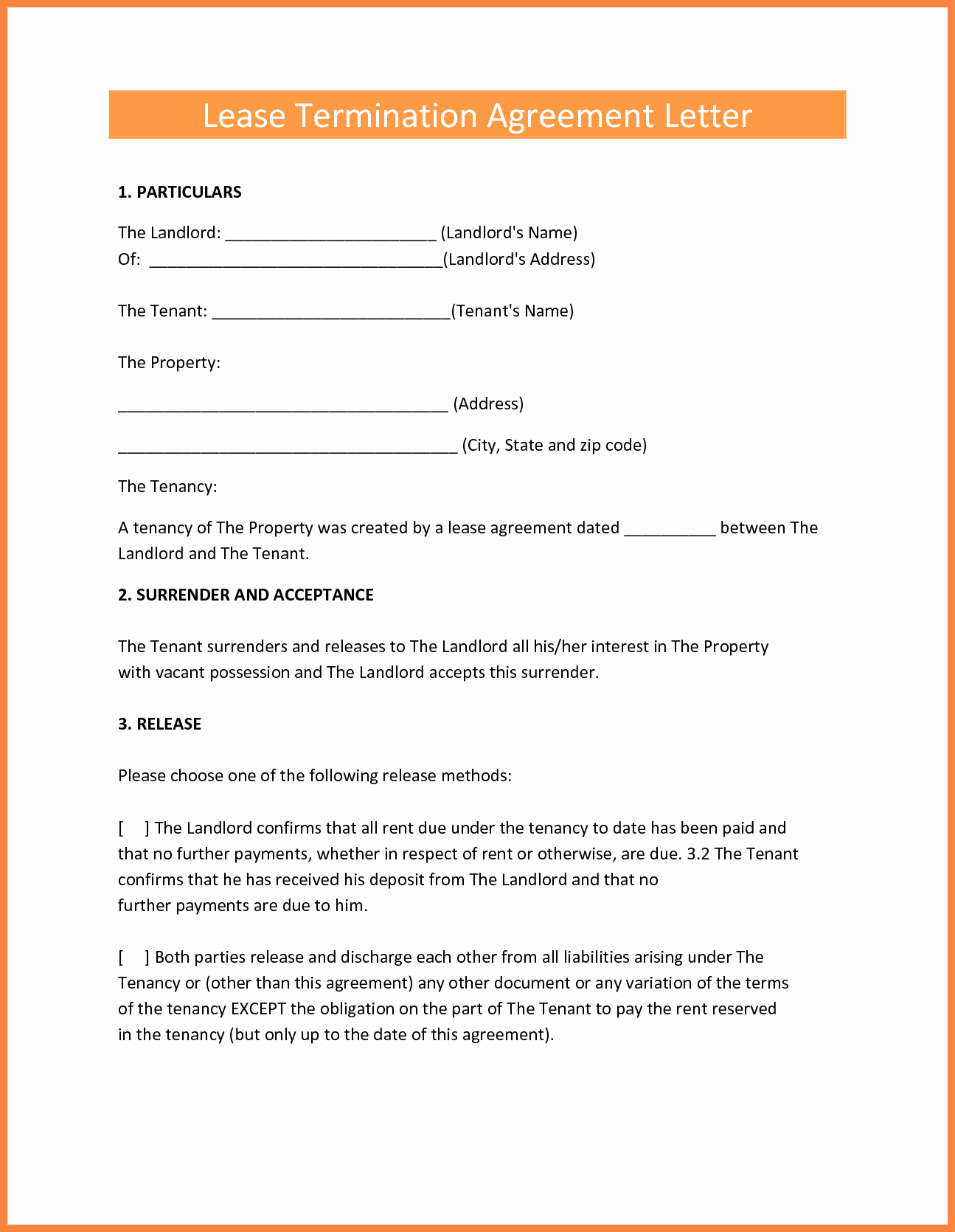 Letter to End Lease New 9 Termination Of Lease Agreement