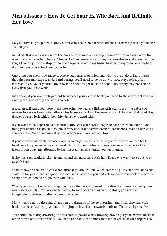 Letter to Get Her Back Luxury Men S issues How to Get Your Ex Wife Back and Rekindle