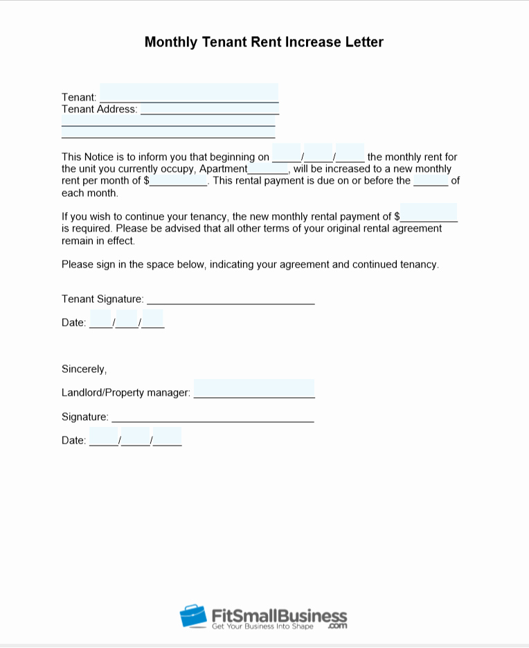 Letter to Increase Rent New Sample Rent Increase Letter [ Free Templates]