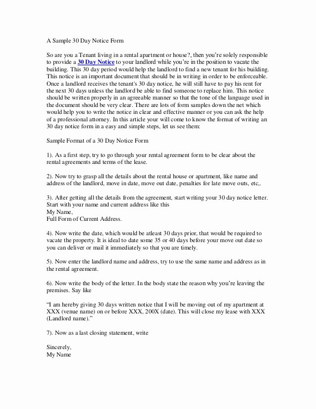Letter to Landlord Moving Out New 30 Day Notice to Vacate Letter
