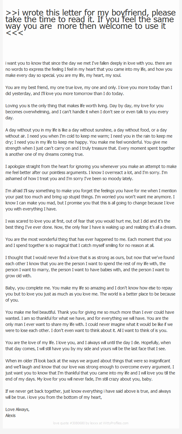 Letter to My Boyfriend Awesome I Wrote This Letter for My Boyfriend Please Take the