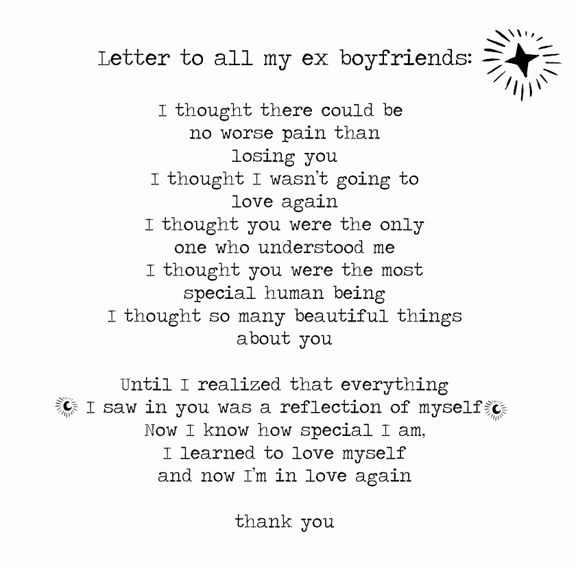 Letter to My Boyfriend Lovely A Letter to All My Ex Boyfriends Black and White