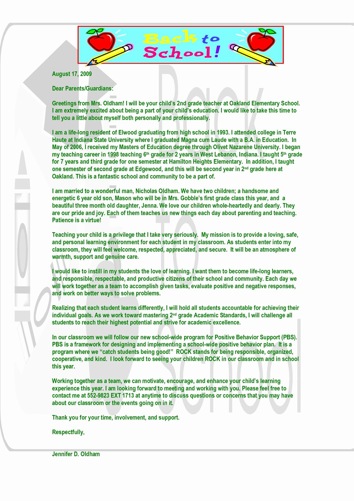 Letter to Parents Template Beautiful Teacher Wel E Letter to Parents Template Samples