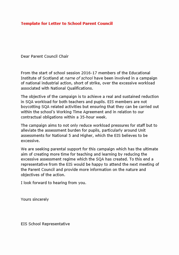 Letter to Parents Template Beautiful Template Letter to School Parent Teacher Councils
