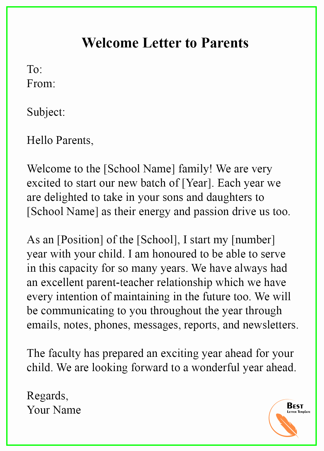Letter to Parents Template Beautiful Wel E Letter Template – format Sample & Example