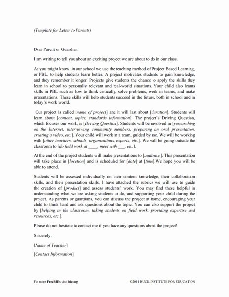 Letter to Parents Template New Project Based Learning A Dynamic Approach to Classroom