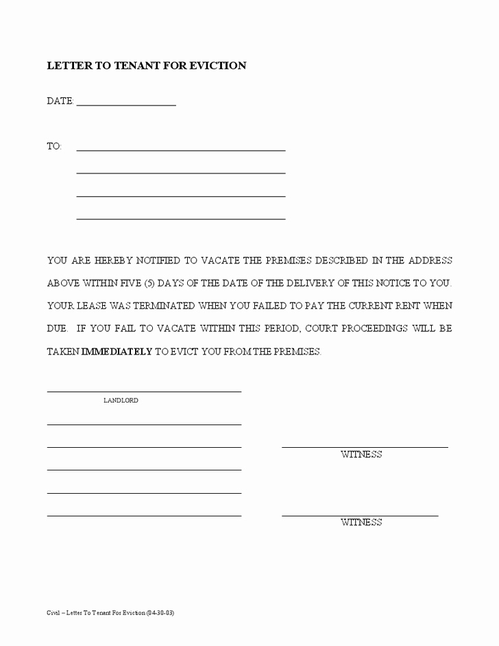Letter to Tenant to Vacate Awesome Printable Sample Tenant 30 Day Notice to Vacate form
