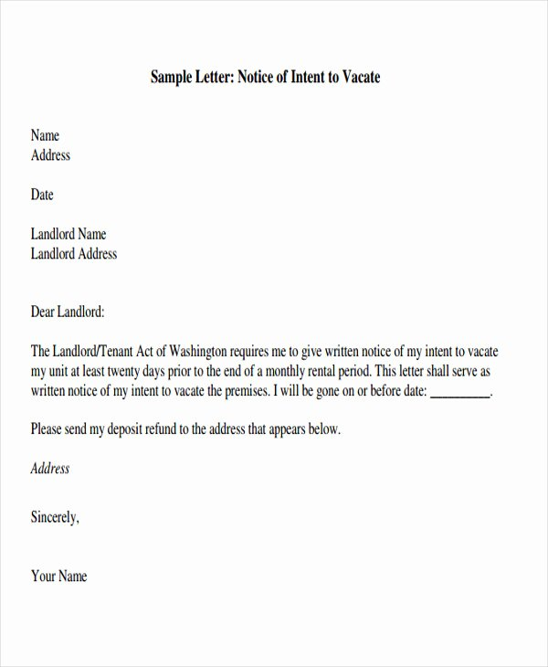 Letter to Tenant to Vacate Best Of Landlord Letter to Tenant