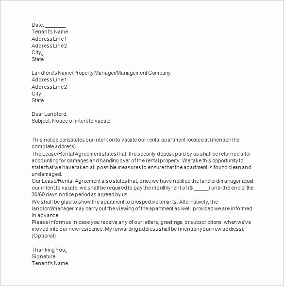 Letter to Tenant to Vacate Lovely 20 Notice to Vacate Templates Pdf Google Docs Ms Word