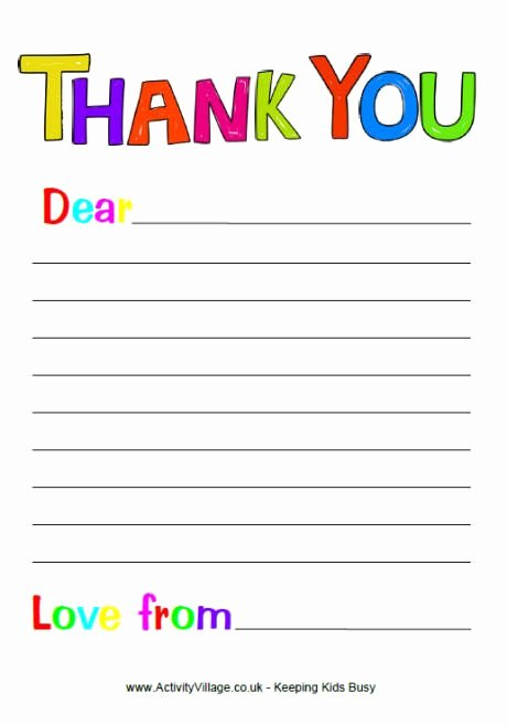 Letter Writing Paper Template Fresh Thank You Letter Template for Kids