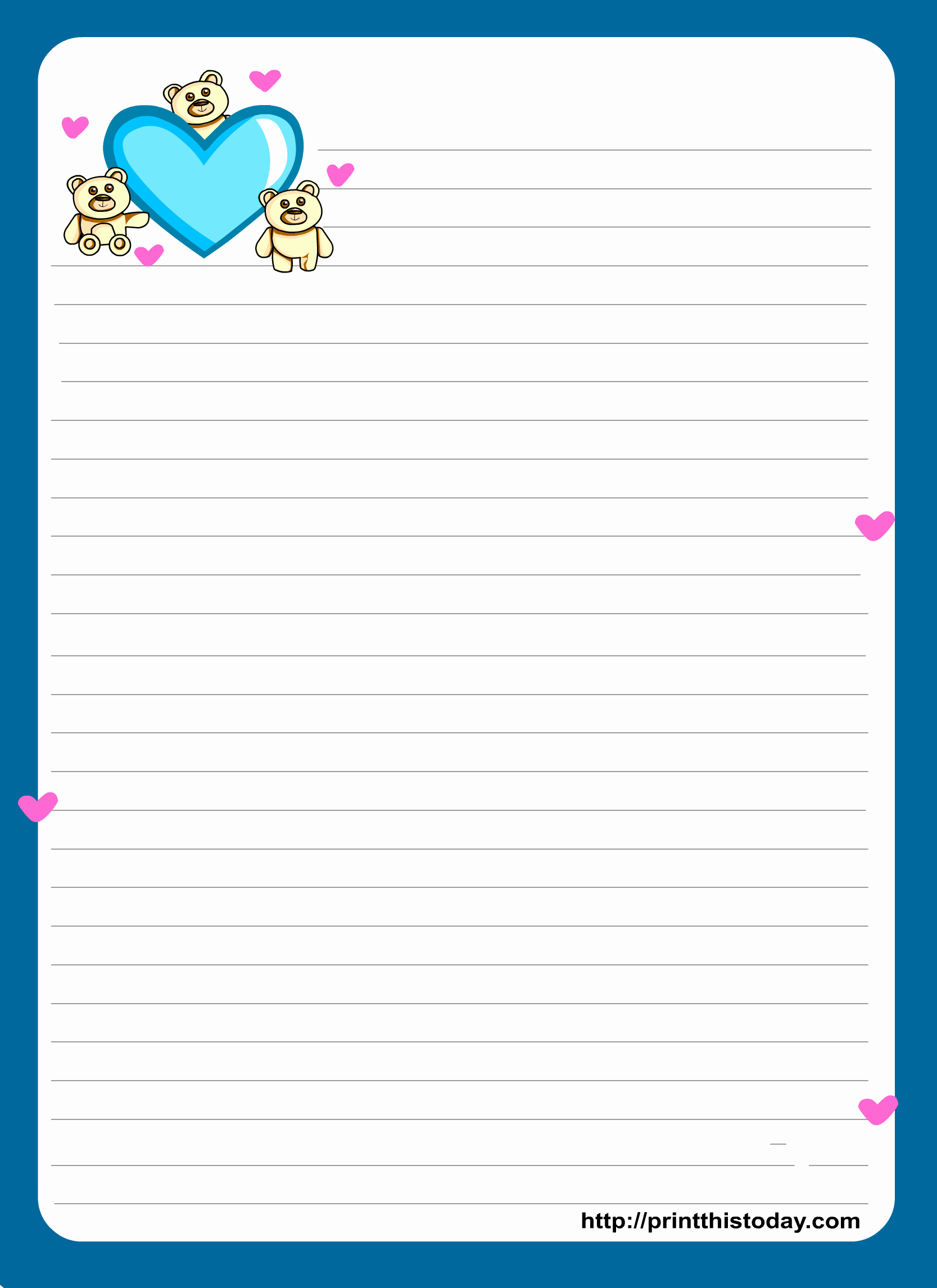 Letter Writing Paper Template Lovely Miss You Love Letter Pad Stationery
