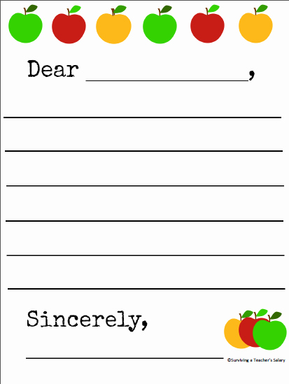Letter Writing Templates for Kids Awesome Free Printable Apple themed Letter Writing Template