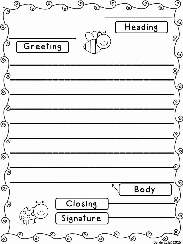 Letter Writing Templates for Kids Best Of Friendly Letter with Envelope with the 5 Parts Of A
