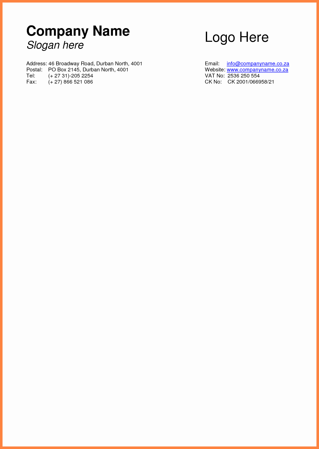 Letterhead Design In Word Fresh 9 Basic Letterhead Template