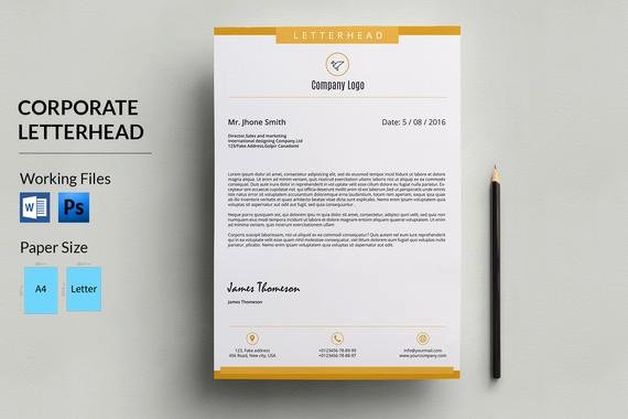Letterhead Design In Word Lovely Corporate Letterhead Template Business Letterhead Pany