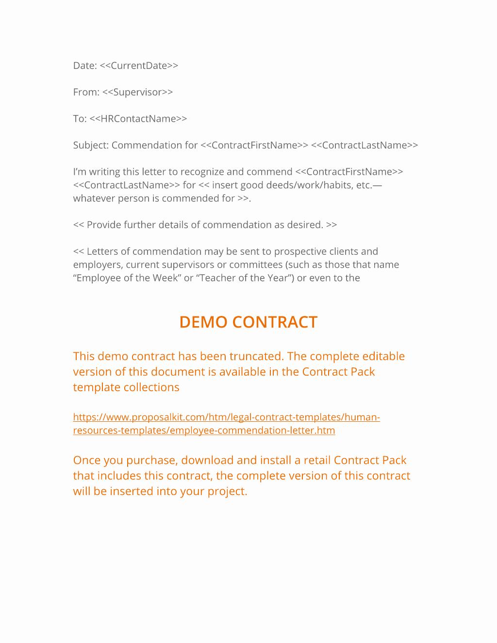 Letters Of Commendation Sample New Employee Letter Of Mendation 3 Easy Steps