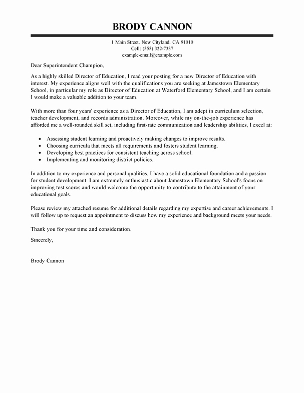 Letters Of Interest Examples Elegant Best Director Cover Letter Examples