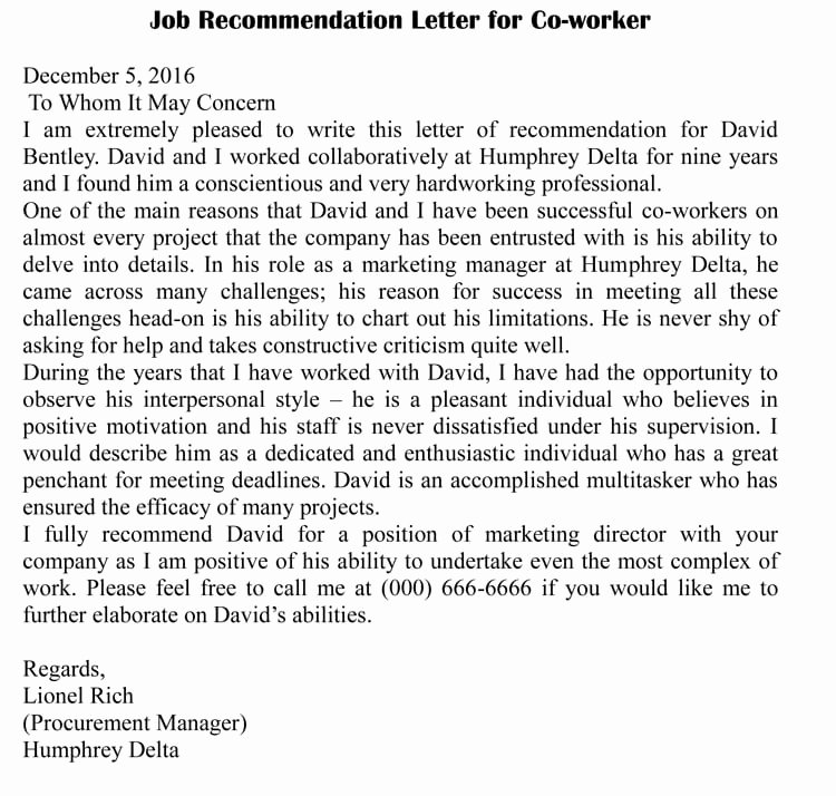 Letters Of Recommendation Coworker Unique Letter Of Re Mendation for Co Worker 18 Sample Letters