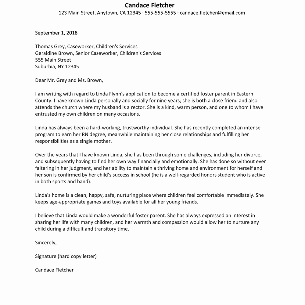 Letters Of Recommendation for Adoption Best Of A Sample Reference Letter for Foster Parenting