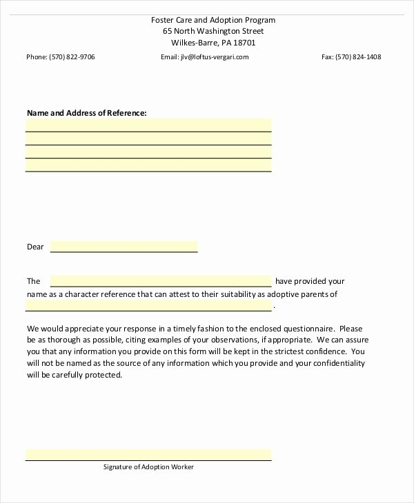 Letters Of Recommendation for Adoption Fresh Reference Letter 12 Free Word Pdf Documents Download