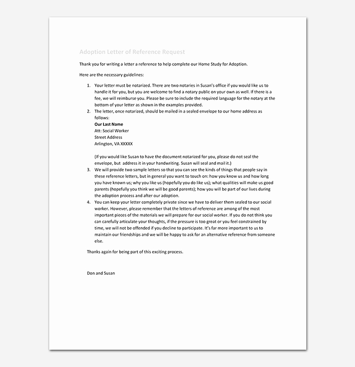 Letters Of Recommendation for Adoption Lovely Reference Letter Template 50 for Word & Pdf format