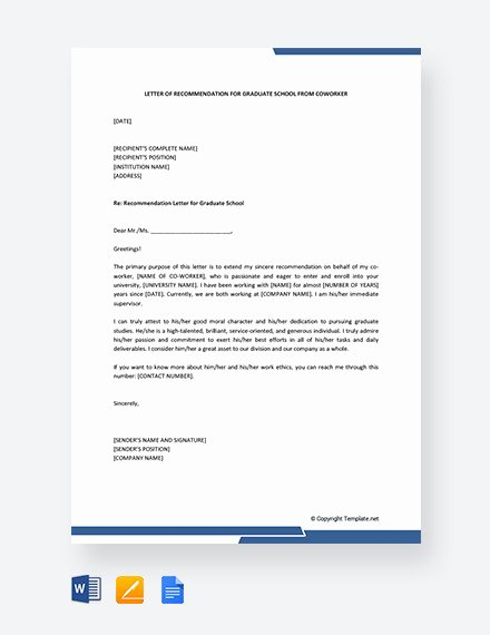 Letters Of Recommendation for Coworker Elegant 15 Letters Of Re Mendation for Graduate School Pdf