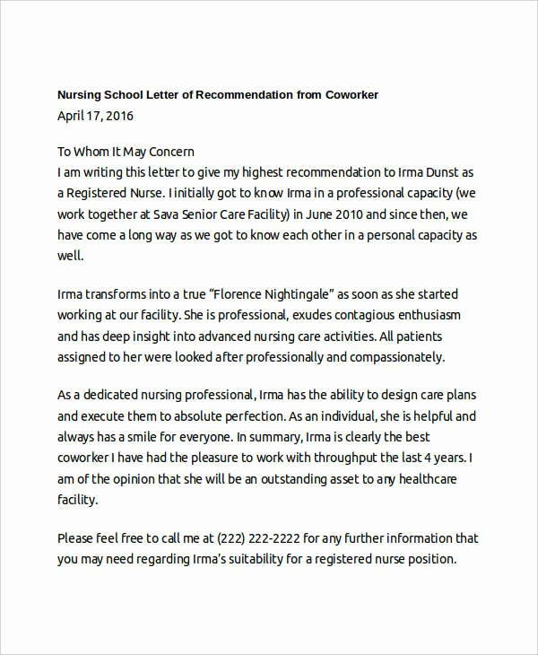 Letters Of Recommendation for Coworker New Coworker Re Mendation Letter 10 Free Word Pdf
