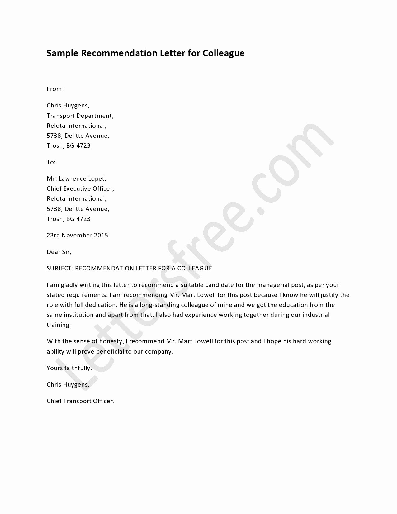 Letters Of Recommendation for Coworker Unique Example Of Re Mendation Letter for Colleague Sample
