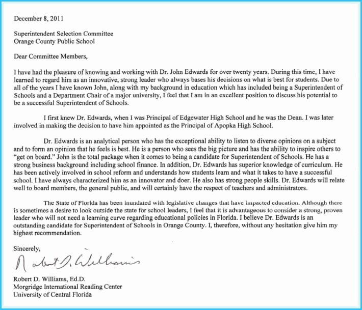 Letters Of Reference for College Awesome College Reference Letter 6 Sample Letters & Writing