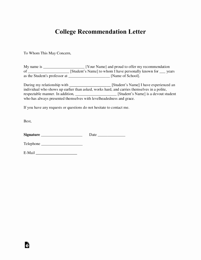 Letters Of Reference for College Elegant Free College Re Mendation Letter Template with Samples