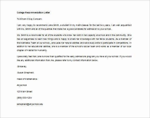 Letters Of Reference for College New Re Mendation Letter for Student From Teacher Sample