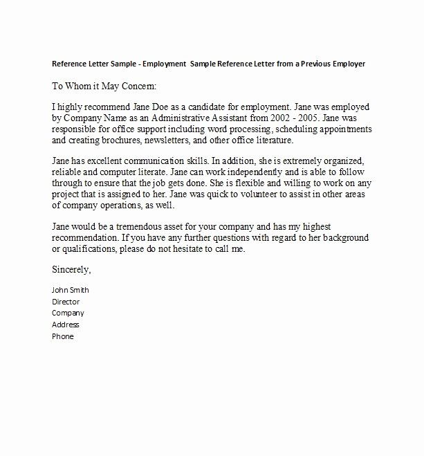 Letters Of Reference for Employees Luxury 50 Best Re Mendation Letters for Employee From Manager