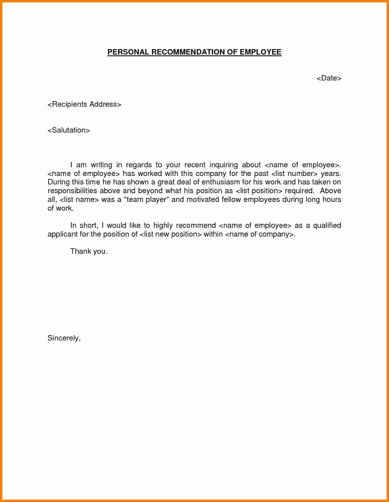 Letters Of Reference for Employees Unique 8 Employment Re Mendation Letter