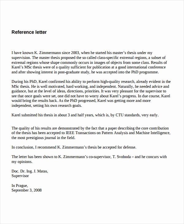 Letters Of Reference for Employment Elegant 7 Job Reference Letter Templates Free Sample Example