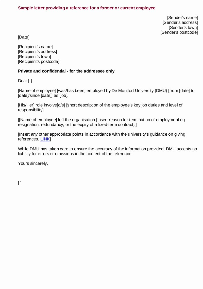 Letters Of Reference for Employment Elegant Free 9 Employee Reference Letter Samples In Pdf