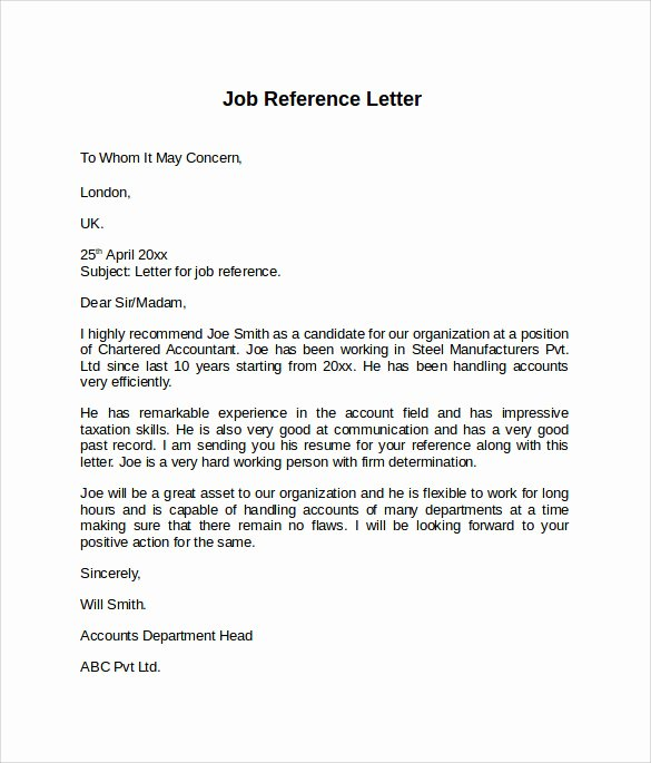 Letters Of Reference for Employment Elegant Job Reference Letter 7 Free Samples Examples & formats